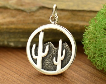 Sterling Silver Cactus and Desert Mountain Charm -Nature-Plants