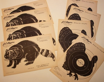 Original Vintage J.C. Higgins Sears and Roebucks Paper Targets/ Raccoon, Turkey,/Art Supply/Collage/Advertising