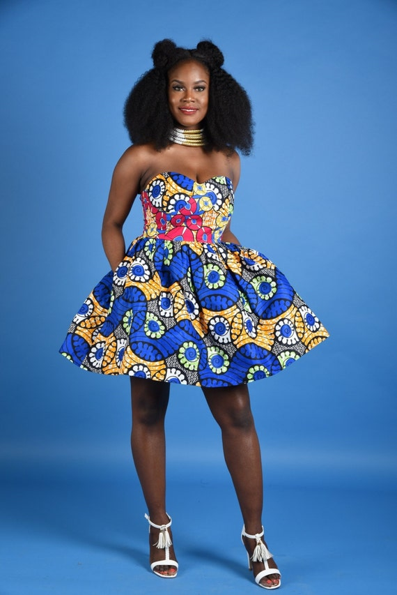 Mili African Print Padded- Bustier Dress
