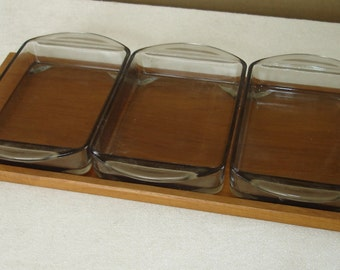 50s Teak Tray Condiment Set with 3 rectangle Glass Bowls, Mid Century Modern (2)Germany