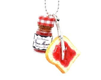 Jam breakfast necklace,Strawberry jam toast necklace,Breakfast necklace,Food jewelry,Miniature food jewelry,Strawberry marmalade necklace
