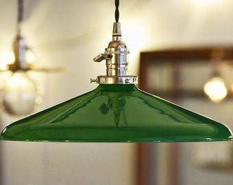 "14"" METAL PENDANT SHADE - Industrial Style - (Green)"