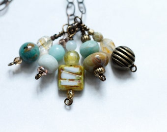 long layered charm necklace / bohemian charm necklace / extra long necklace / antique brass chain #807
