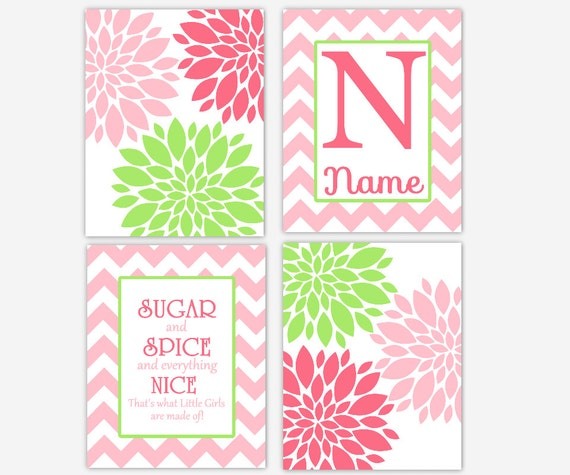 Pink And Green Wall Decor For Nursery : Girl nursery wall art pink green flower burst printssugar and