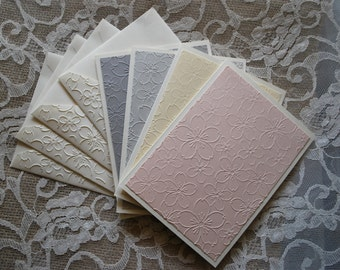 Handmade greeting cards: Set of 4 embossed flower cards and envelopes