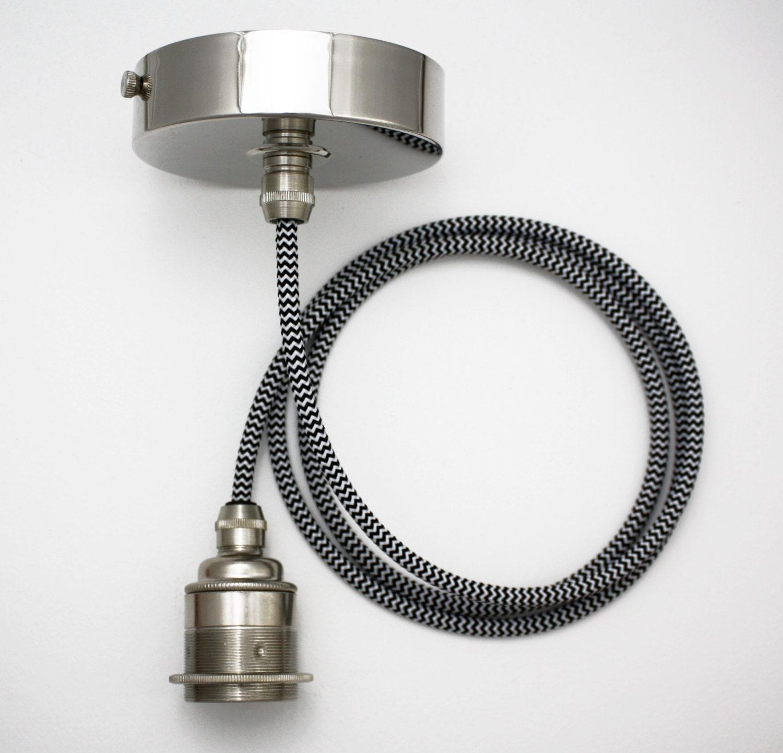Nickel Silver Pendant Light Edison Screw Pendant Set ES