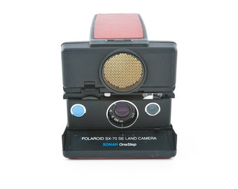 Polaroid SX-70 SE Land Camera Sonar OneStep - new Red leather covering - blue button - tested and Guaranteed Working uses impossible film