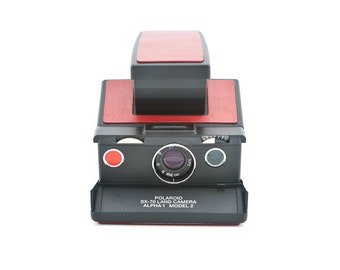 Polaroid SX-70 Alpha 1 Model 2 - reskinned with red leather - film Tested - Guaranteed Working