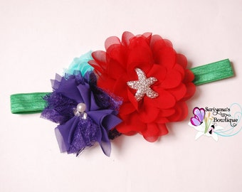 Little Mermaid Ariel, Red Purple Green Chiffon Lace Pearl Rhinestone Flower Headband, Starfish Headband, Baby Toddler Girl Woman - SB-116