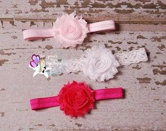 Baby Toddler Girl Woman Headband Set, Shabby Flower Headband, Light Pink White Hot Pink - SBst-012