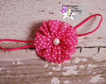 CLEARANCE - Hot Pink White Polka Dot Chiffon Twirl Pearl Headband - Baby Girl Toddler Preemie - SB-080