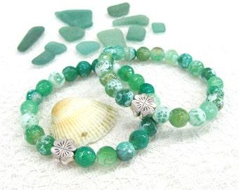 Green Agate bracelet Shamrock charm bracelets Good luck jewelry gift for teens stretch bracelets stackable small size