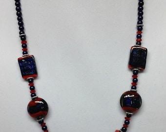 Blue & Red Handbeaded Necklace