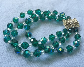 Vintage Bracelet with Iridescent Green/White Faceted Beads