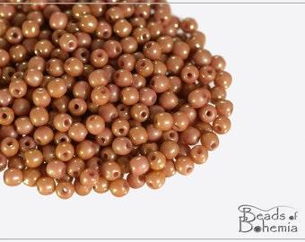 100 pcs Chalk Red Luster Czech Glass Round Beads 3 mm (10331)