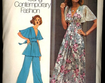 1970s Size 10 Bust 32 1/2 Dress Pants Tunic Flared Sleeve Simplicity 6710 Vintage Sewing Pattern 70s Top Maxi Special Occasion