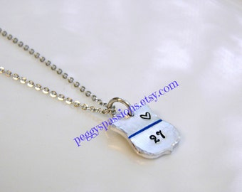 Heart with Thin Blue Line and number, hand stamped badge charm. Leo's & Corrections, Female Officer, Wife, Mother,Daughter.