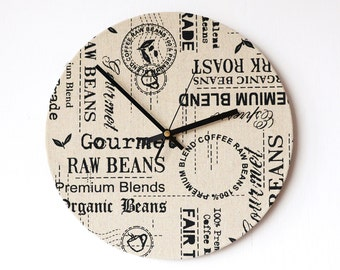 Fabric Wall Clock - Coffee Labels Clock - Recycled Vinyl Record Clock - Retro Print Clock - Beige Clock - Cottage Chic Clock