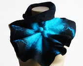 Chunky Oversized Scarf Felted Wool Scarf Collar Black blue shibori Gift For her Valentine's Day Gift For Girlfriend Birthday Gift
