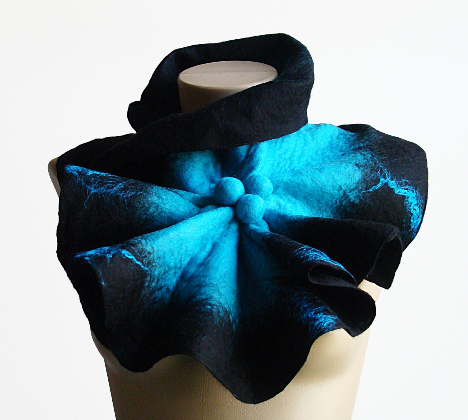 chunky oversized scarf felted wool scarf collar black blue