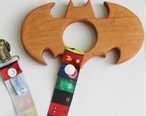 Super Hero Wooden Teether | Wooden Teether | Super Hero Paci-Catcher | Wooden Super Hero Toy | Wooden Baby Toy