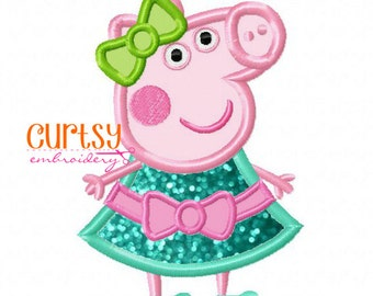 Peppa Pig Embroidery Design, Peppa Pig Applique Design, Pig Applique Design