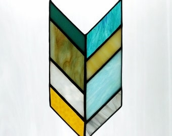 Item #238 Stained Glass Chevron in Neutral & Turquoise Shades
