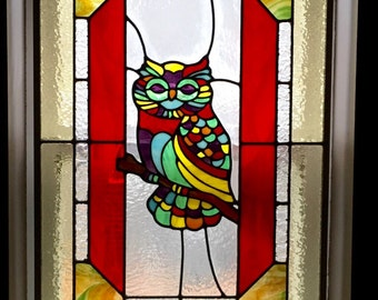 Owl Stained Glass Window Panel
