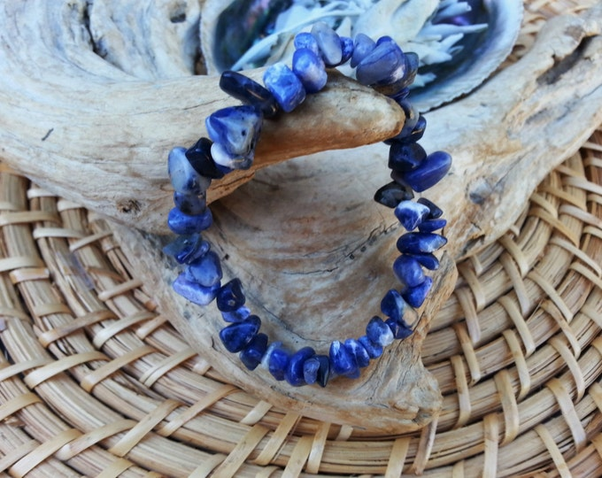 Sodalite stretchy bracelet ~ one Reiki infused gemstone chip bead bracelet approx 7 inches