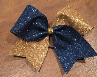 Cheer Bow - Navy Blue and Gold Glitter