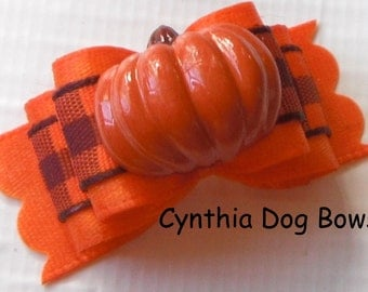 Dog Bow- 5/8 or 7/8 Thanksgiving/Fall/Autumn Pumpkin in Orange with Orange/Burgundy and Plaid