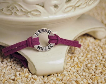 DREAM Bracelet - Inspirational Message Bracelet - Dream affirmation ring on cord bracelet