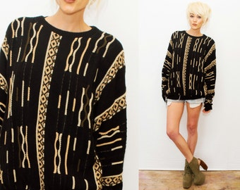 VTG Neutral Browns + Black Knit Comfy Slouch Sweater  / Crosby Coogi - Style / Made in USA /  1990s / Comfy baggy / long sleeve / top /