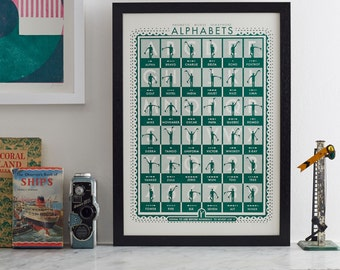 Semaphore, phonetic and Morse alphabets. SEMAPHORE. Screen print by James Brown