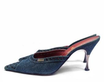Chanel denim heel mules shoes