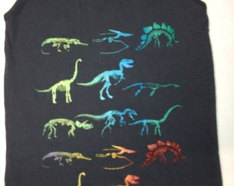 Dinosaur Tank Top - Skeletons on dark grey American Apparel