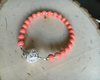 Coral Bracelet with Magnet Clasp