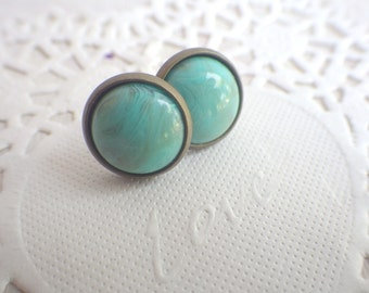 turquoise buttons - Studs with turquoise cabochon - marble color accent
