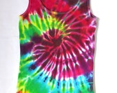 Groovy Tie Dye Tank Top, Classic Rainbow Spiral, Ladies Size Large