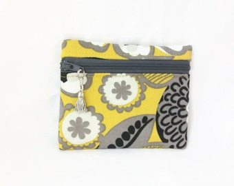 Yellow Print Small Coin Purse, Change Wallet, ID Card Wallet, Zip Coin Pouch, Black Gray Floral Print Card Wallet, Small Change Purse