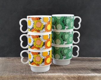 Retro Stacking Coffee Mugs - Sunflower Nesting Cups - Orange Yellow Green Flowers - Set of Six - Vintage