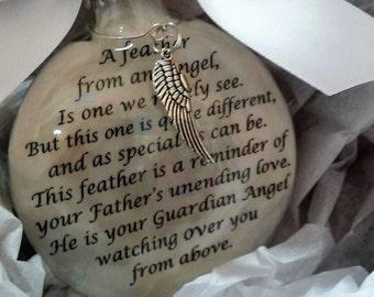 "FATHER Memorial Christmas Ornament Gift - ""A Feather From a Guardian Angel"" Sympathy In Memory Dad- Personalized w/ Name - Custom Keepsake"
