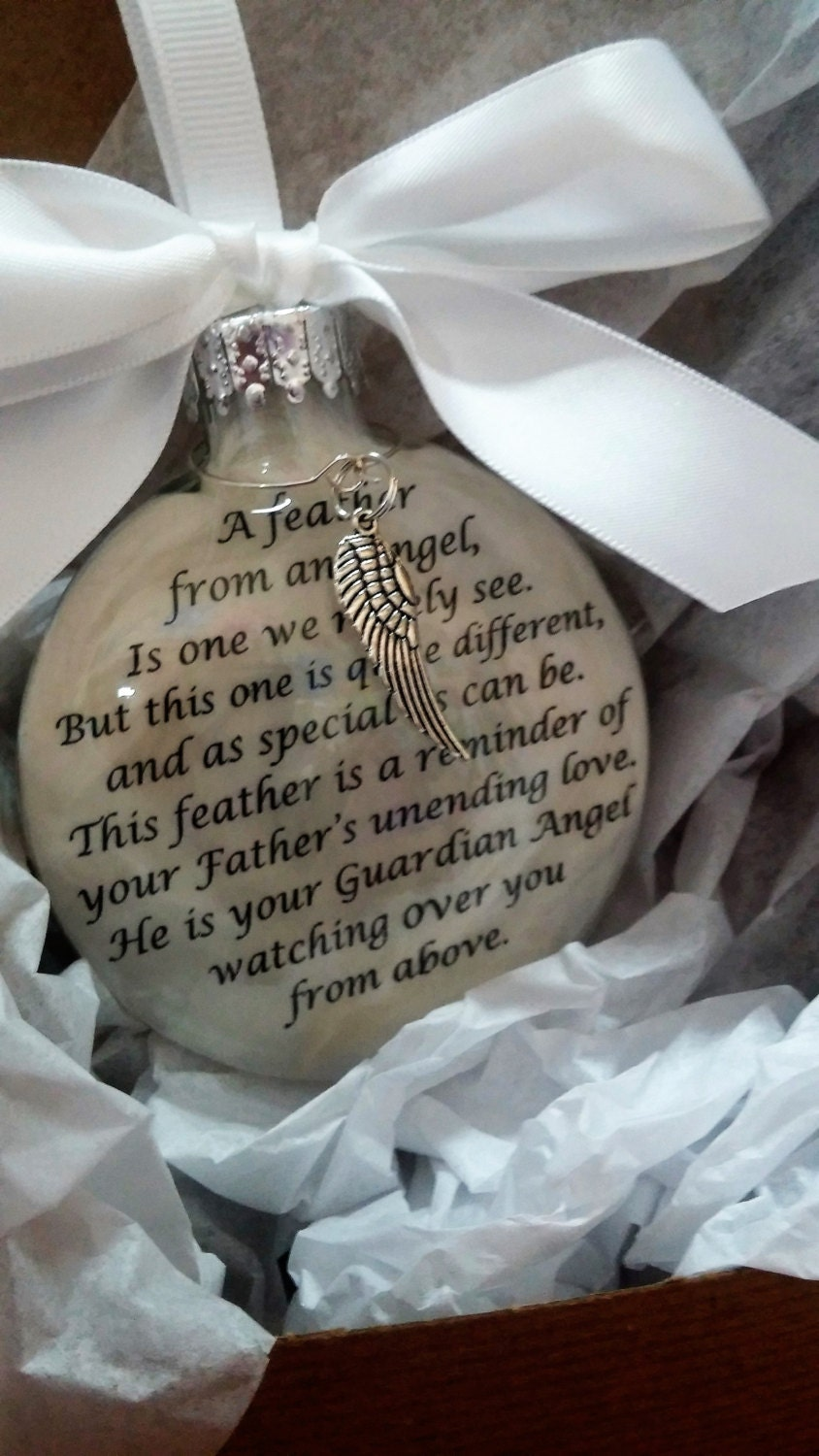 FATHER Memorial Christmas Ornament Gift A Feather From