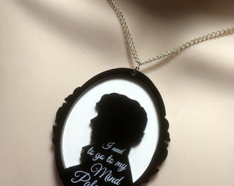 SHERLOCK inspired Cameo style pendant with quote