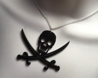 SKULL & CROSSED SWORDS....Laser cut Acrylic Pirate influenced necklace