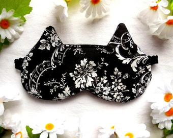 Cat Sleep Mask, Cat Blindfold, Black Satin Cotton Fleece Back, White Floral Roses, Dark Cute Nap Eye Shade Cover, Women's Eyemask Sleepmask