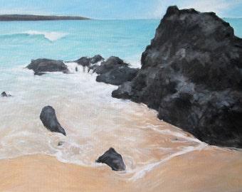 Original oil of 'Lava Beach, Maui' - 18x24