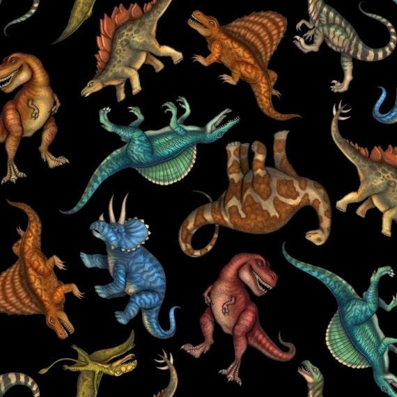 Jurassic Jungle Dinosaur Fabric T-Rex Triceratops Brachiosaurus Stegosaurus ....