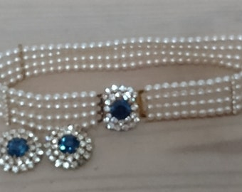 vintage pearl and blue rhinestone choker and earrings set