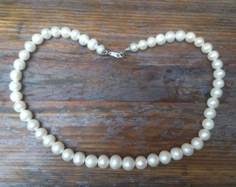 Large real pearl vintage single strand necklace